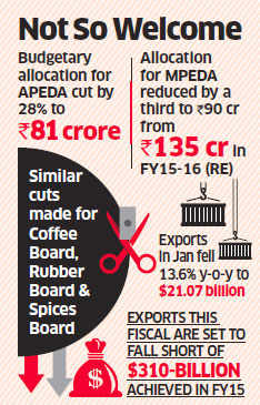 Commodity, export bodies get budgetary shock as allocation for APEDA cut by 28%