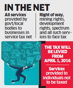 Companies will have to pay service tax on services availed from government from next fiscal year