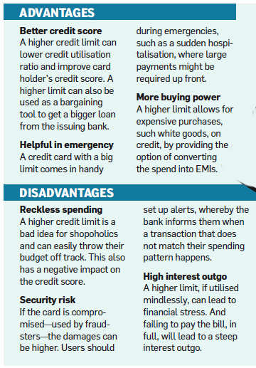 Advantages Of Credit Card >> Is A Higher Credit Limit Good For You The Economic Times