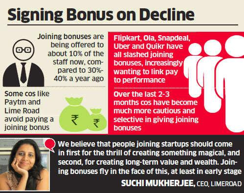 Tech startups, e-commerce companies like Flipkart, Ola, Snapdeal, Uber cut down on joining bonuses