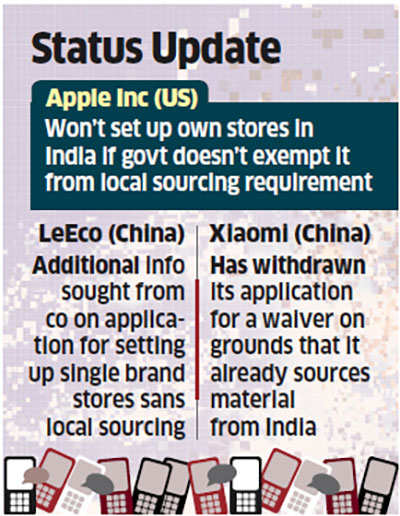 Govt rejects Apple's plea for exemption from local sourcing; seeks more info from LeEco