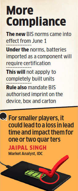 New battery norms issued by BIS may make smartphone makers face delays in launching models