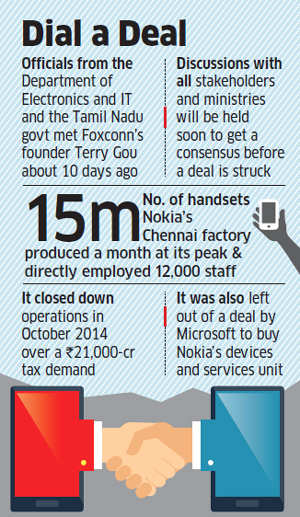Government rings up Foxconn for sale of Nokia's Chennai plant; talks held with Terry Gou 10 days back