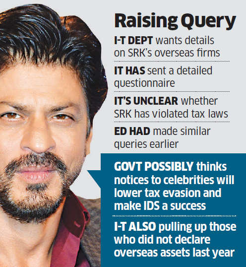 Shah Rukh Khan gets notice from I-T department; asked to spell out offshore investments