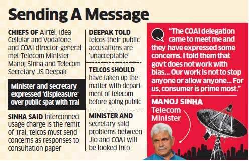 Telcos rapped by government for voicing displeasure with Trai