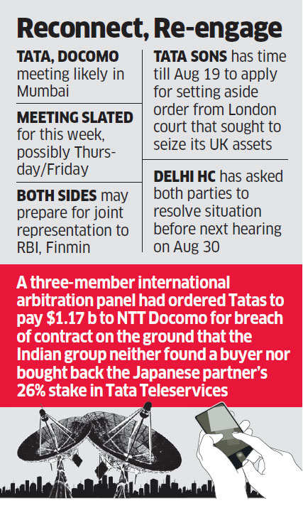 Tata Group officials to meet NTT Docomo brass to end deadlock in arbitration dispute