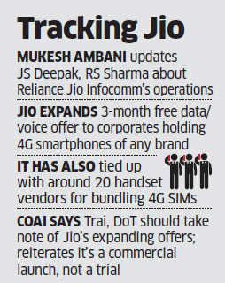 Mukesh Ambani meets Trai, DoT officials with Jio updates