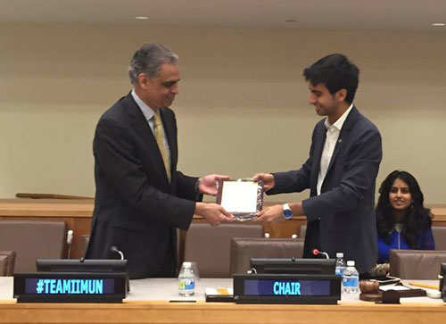 A future PM is learning his first lessons of diplomacy at IIMUN: Rishab Shah