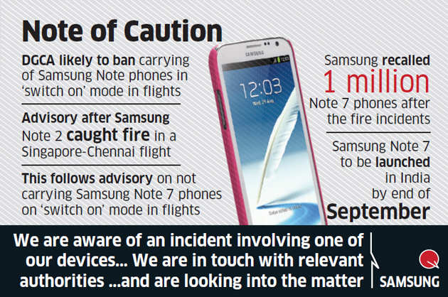 DGCA may curb use of entire range of Samsung Galaxy Note smartphones on flights