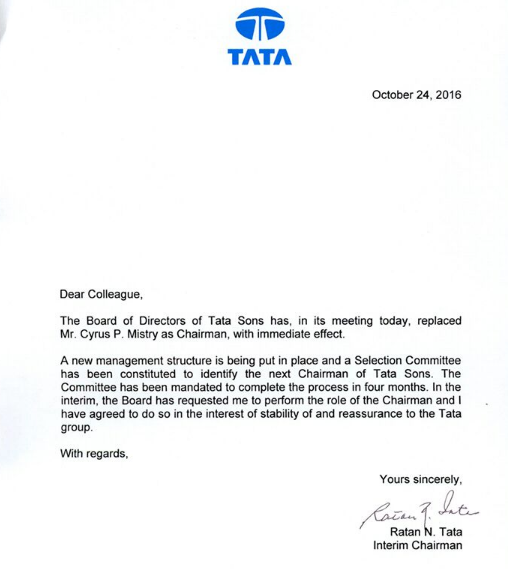 Cyrus Mistry removal In an open letter Ratan Tata reassures