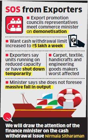 Demonetisation: Exporters fear output fall, want cash limit increased