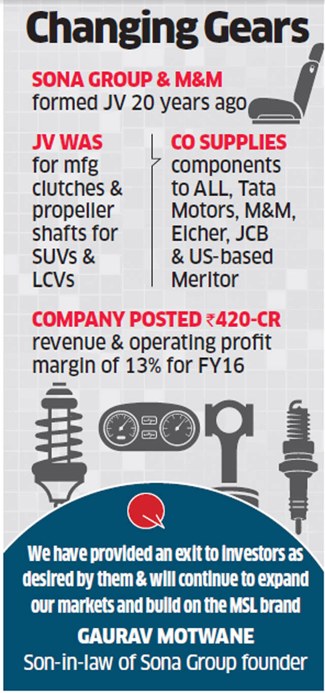 Sona Group promoters pick up Mahindra's stake in JV for Rs 120 crore