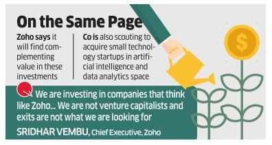 Software products firm Zoho invests $10 million in five startups