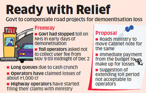 Cabinet note soon to make up for national highways operators' toll loss