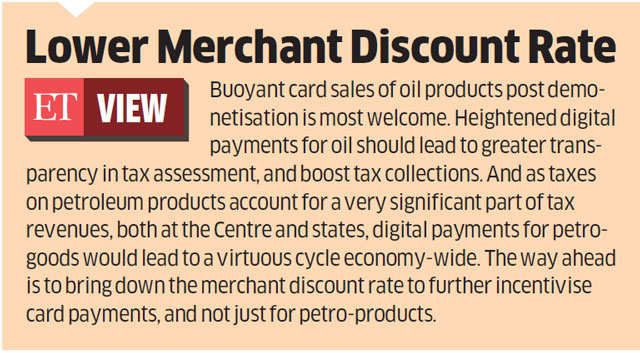Digital transactions at petrol pumps rise to 30% after demonetisation