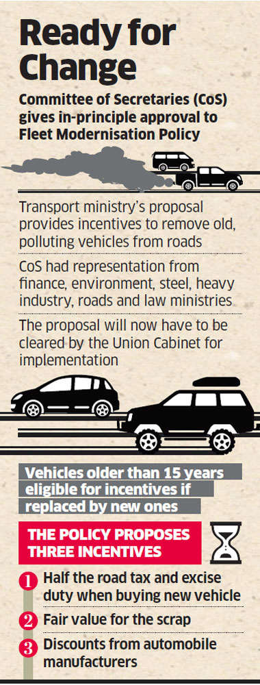 Policy to scrap old vehicles gets in-principle nod