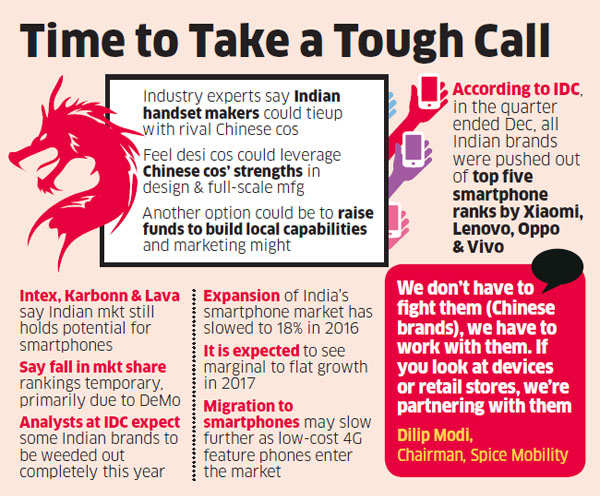 Indian handset makers can join Chinese companies to stay afloat