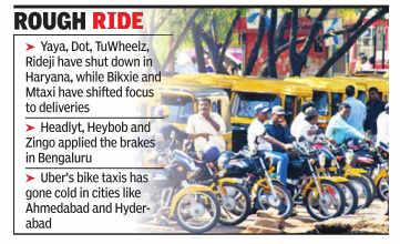 Most bike taxi ventures shut operations