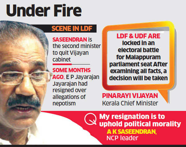 Kerala minister A K Saseendran resigns over allegations of sexual misdemeanour