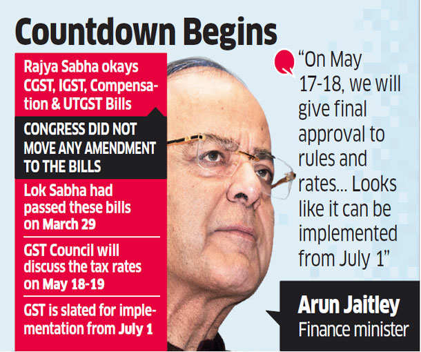 Parliament passes 4 GST bills, July 1 rollout likely