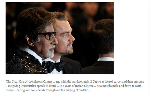 Leonardo DiCaprio is the most humble co-star, says Amitabh Bachchan