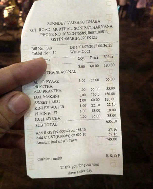 Gst Effect How Will Your Restaurant Bill Look Like Post Gst
