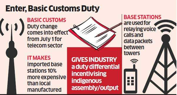 10 per cent basic customs duty only on imported base stations