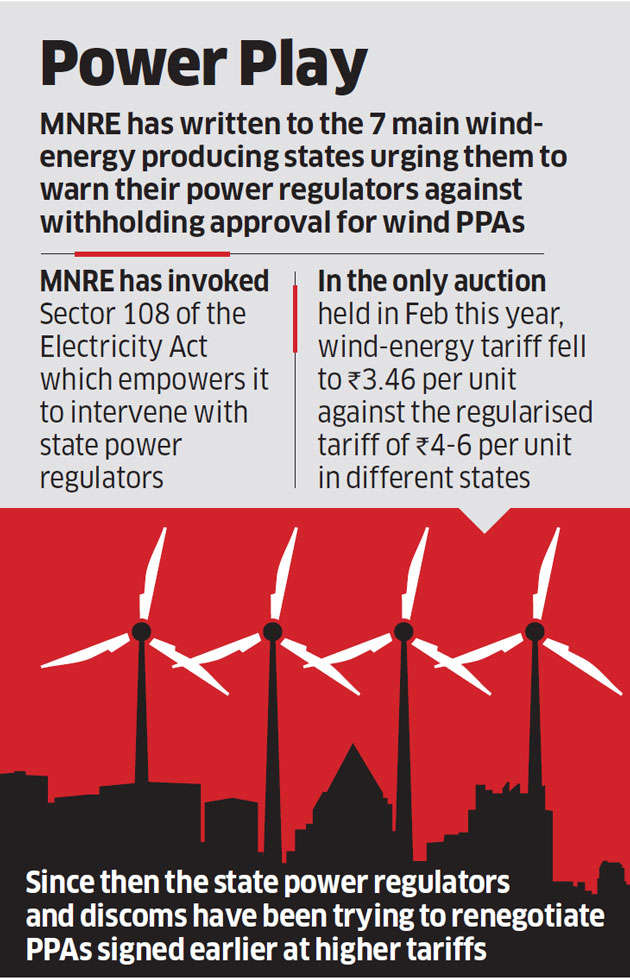 States producing wind energy asked to ensure regulatory nod for power purchase agreements
