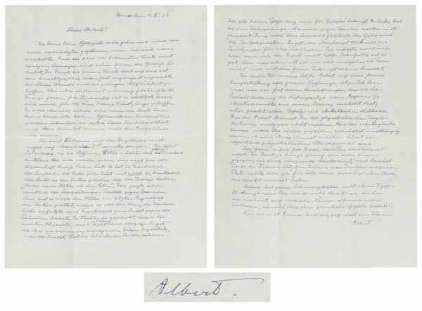 Albert Einstein's letter warning about Adolf Hitler before World War II goes for auction
