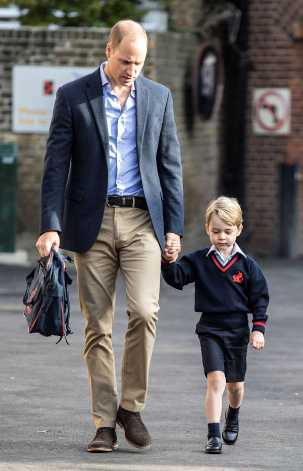 Prince George starts first day of school with father Prince William