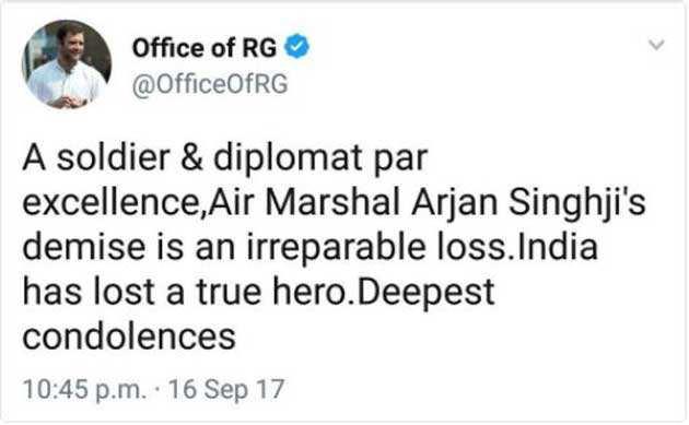 Rahul Gandhi goofs up again, terms Marshal of IAF Arjan Singh Air Marshal