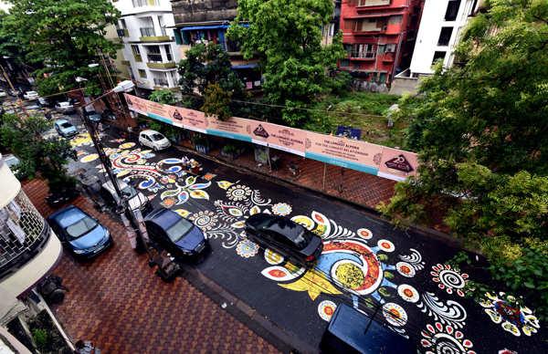 Kolkata street gets a makeover! Over 1km long Rangoli drawn ahead of Durga Puja