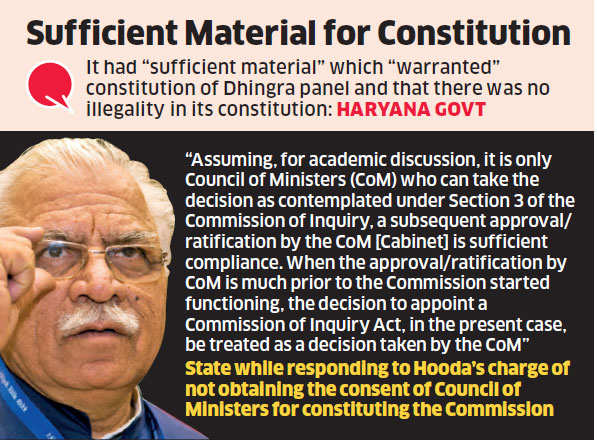 Haryana CM Manohar Lal Khattar seeks to quash petition challenging Dhingra Commission