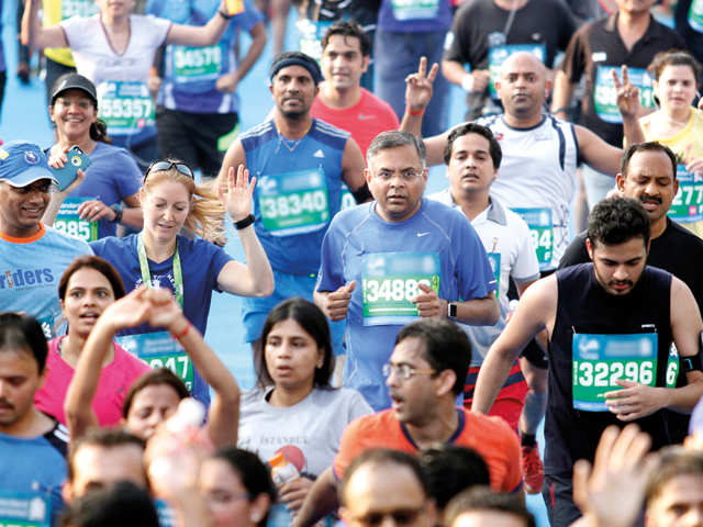 What's on N Chandrasekaran's mind while he is running?
