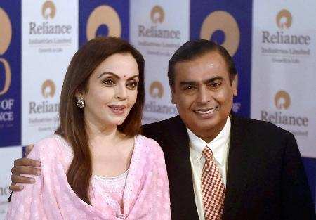 Reliance Industries Chairman Mukesh Ambani with wife Nita Ambani arrives for the 40th annual general meeting (AGM) of the company in Mumbai on Friday.Photo by Mitesh Bhuvad