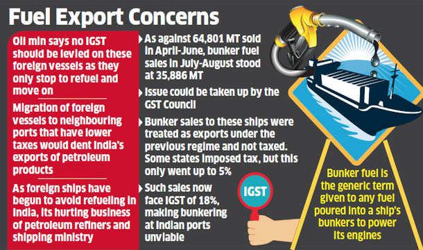 Oil ministry seeks IGST exemption for bunker fuel
