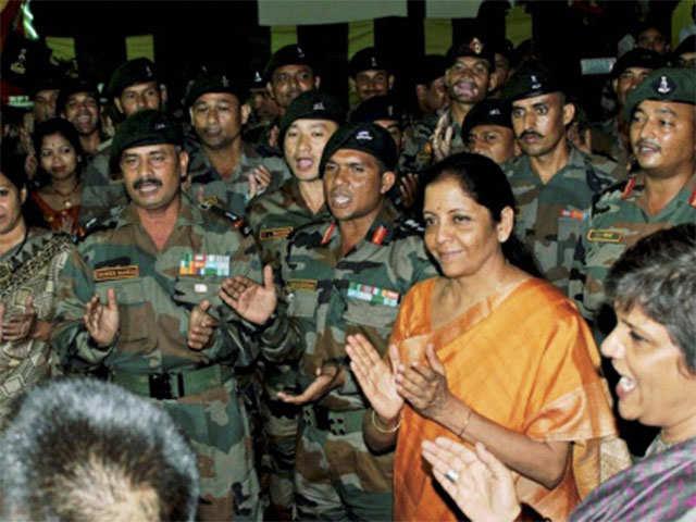 Nirmala Sitharaman celebrates Diwali with troops at Andaman and Nicobar