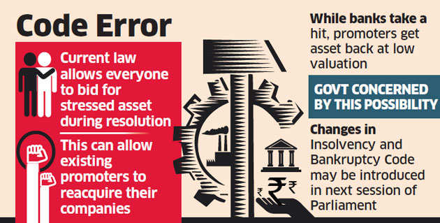 Big tweak in insolvency law on cards, defaulters may be barred from bidding
