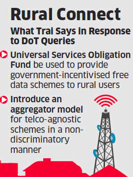 TRAI pushes plan to give free 100 MB data to rural users