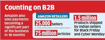 Amazon sees a big spot in B2B, global sales