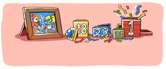 Google wishes Happy New Year 2018 with a series of holiday doodles