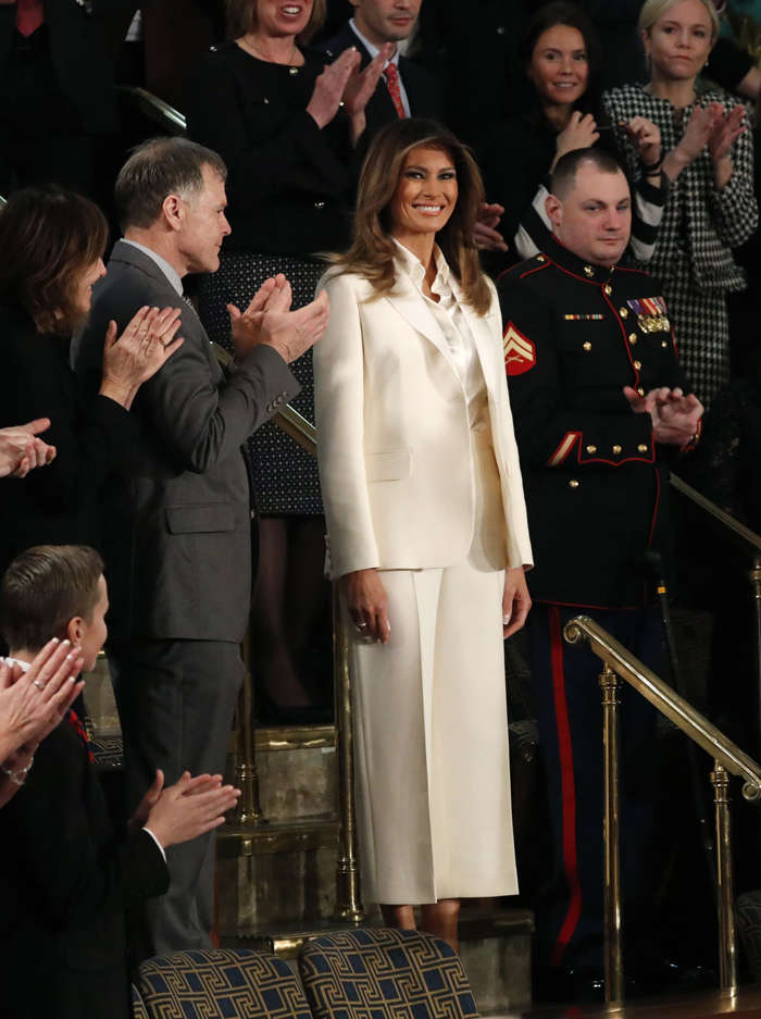Twitter finds hidden meanings behind Melania Trump's white outfit