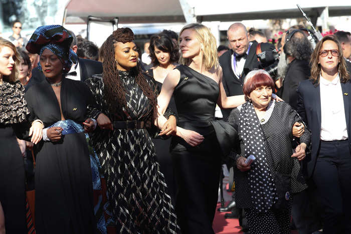 Cate Blanchett leads women's march, other female stars protest for equal rights at Cannes red carpet