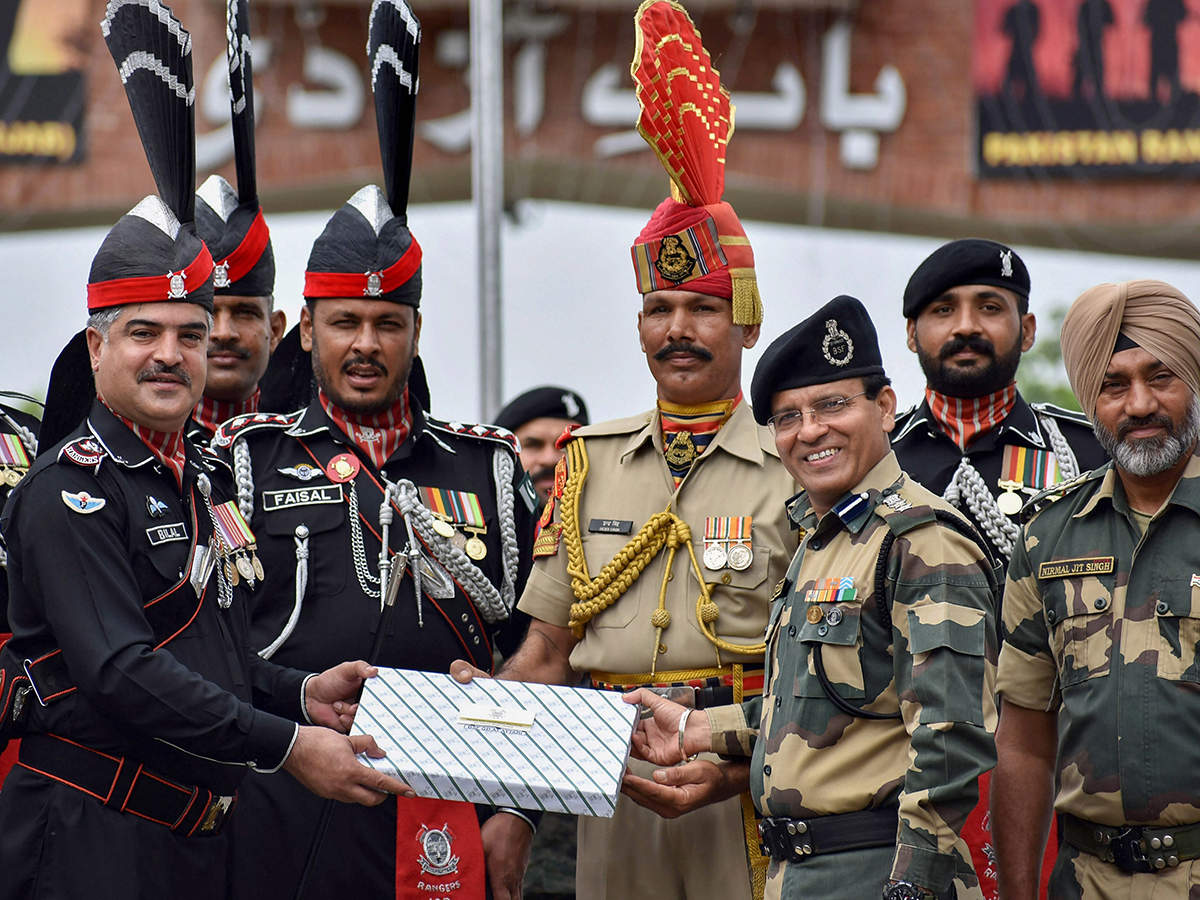 BSF and Pakistani Rangers exchange sweets on Pakistan's Independence Day