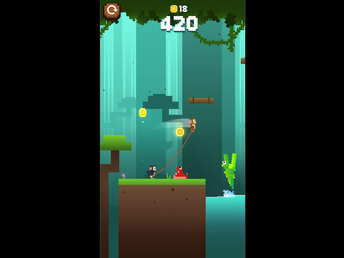 'Monkey Ropes' review: This endless running game has basic, yet colourful graphics