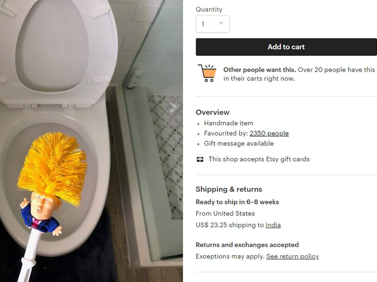 Donald Trump Toilet Brush Someone Just Created A Donald Trump Toilet Brush Priced It At 23 50 The Economic Times This toilet brush and holder set is a great talking point and a hilarious gift idea. donald trump toilet brush someone just