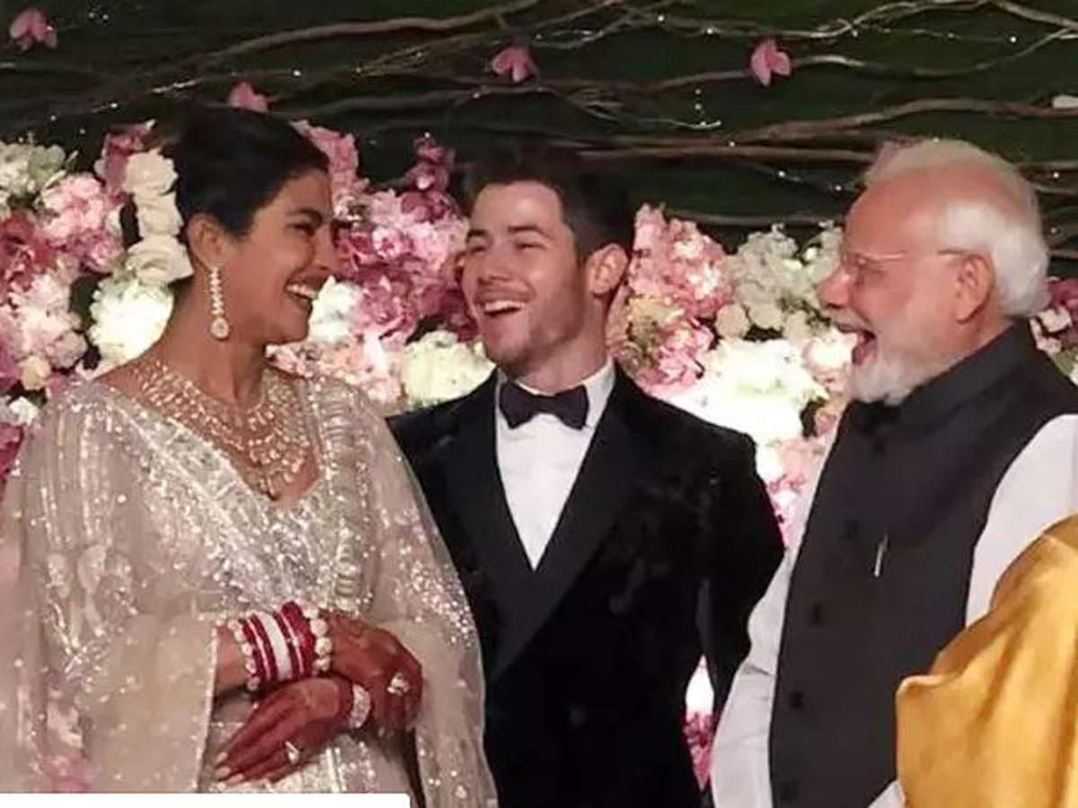 From left: Priyanka Chopra, Nick Jonas, Narendra Modi