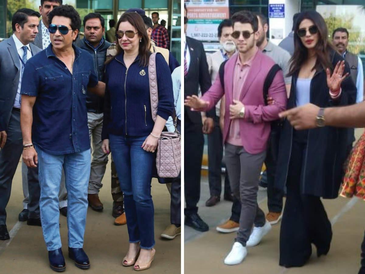 Sachin Tendulkar with wife Anjali, and newly-weds Priyanka Chopra & Nick Jonas