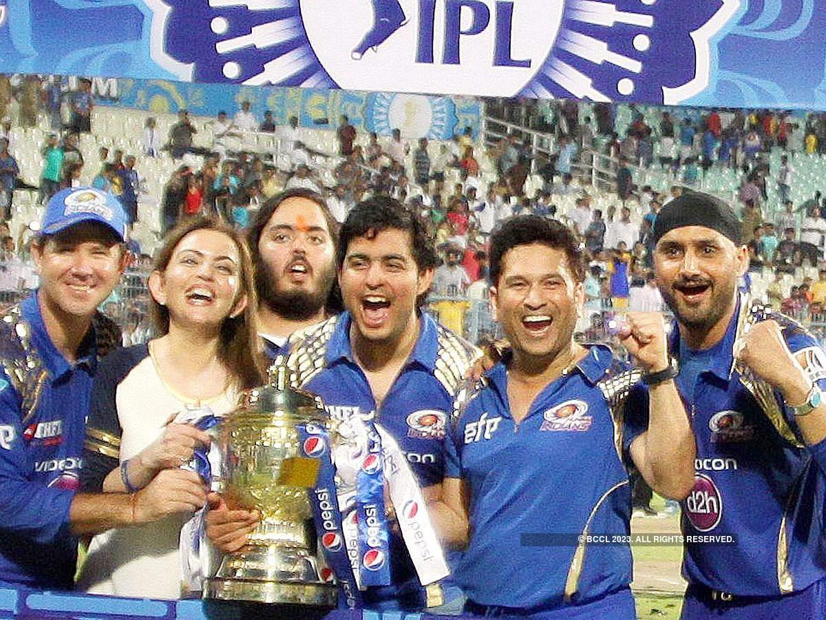 Nita Ambani celebrates Mumbai India's IPL victory in 2015 with sons Akash and Anant, and cricketers Sachin Tendulkar, Ricky Ponting and Harbhajan Singh at Eden Garden in Kolkata.