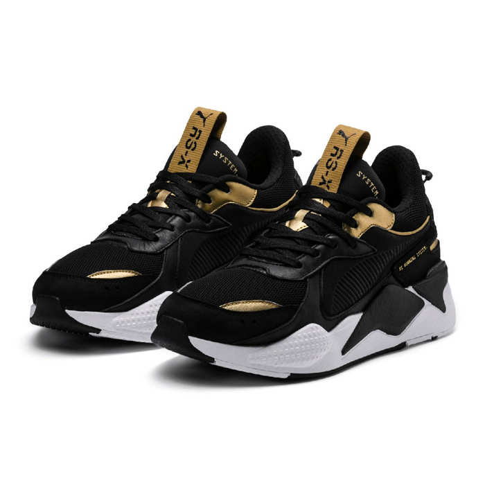 puma shoes gold and black